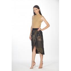 Wrap jacquard skirt