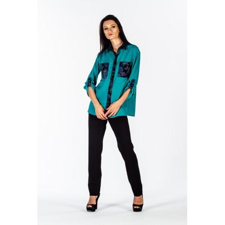Camicia verde con dettagli jacquard