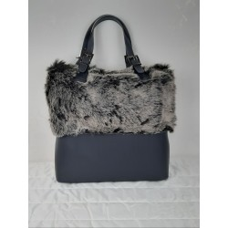Leather shopper and eco-fur trim