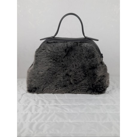 Leather handbag with eco-fur front
