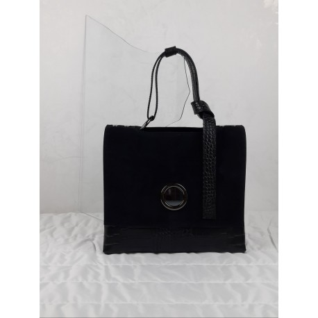 Handbag with flap in nappa leather
