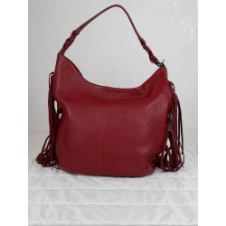Leather bag with side fringes