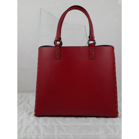 Red leather bag with side stitching
