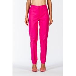 Pantalone classico fucsia in cotone elasticizzato