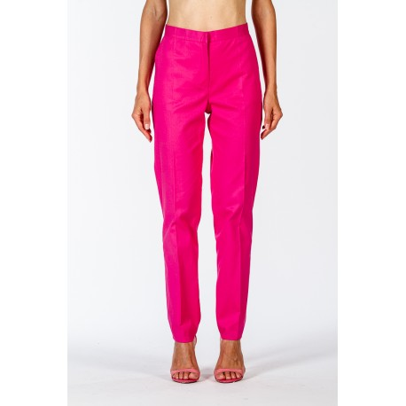 Classic fuchsia trousers in stretch cotton