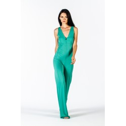 Sleeveless green jersey jumpsuit