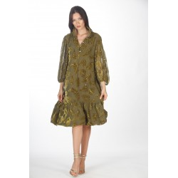 Olive green trapeze dress in silk