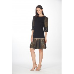 Dress with flounce and brocade sleeves