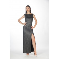 Long lurex dress without sleeves