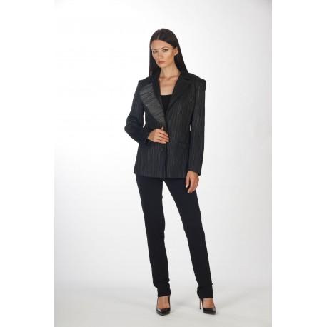 Asymmetric lapel lurex jacket