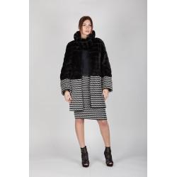 Cappotto eco pelle e eco pelliccia