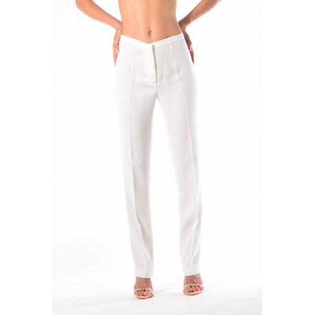 Pantalone bianco in cadì con piega